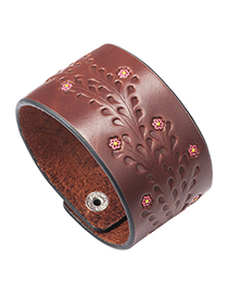 Fashion Brown + Red Flower Printed Oil Wide Leather Bracelet