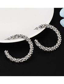 Fashion Silver Circle Wrapped With Diamond Earrings