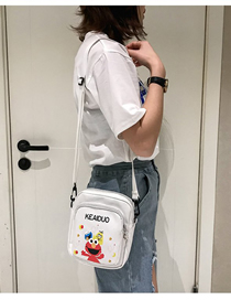 Fashion White Printed Cartoon Crossbody Shoulder Bag
