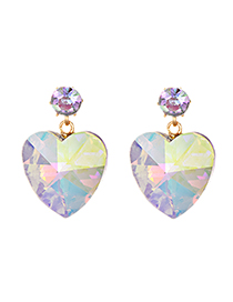 Fashion Bright Color Alloy Crystal Love Earrings