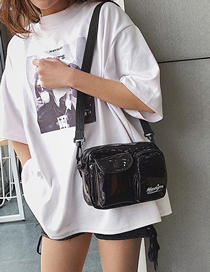 Fashion Black Laser Double Pocket Messenger Bag