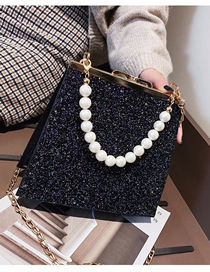 Fashion Black Sequined Pearl Portable Crossbody Bag
