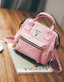 Fashion Pink Canvas Backpack Shoudlder Bag