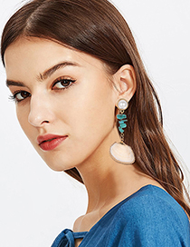 Fashion Gold Alloy Pearl Turquoise Shell Earrings