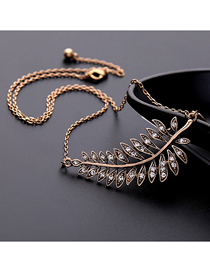 Fashion Bronze Leaf-studded Necklace