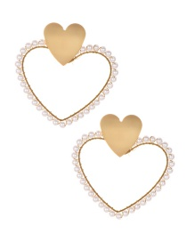 Fashion Gold Alloy Pearl Love Stud Earrings