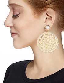 Fashion Gold Alloy Pearl Rattan Round Stud Earrings