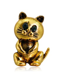 Fashion Gold Alloy Diamond Cat Brooch