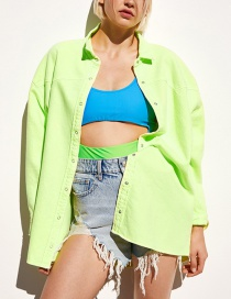Fashion Green 摁 Buckle Solid Color Coat