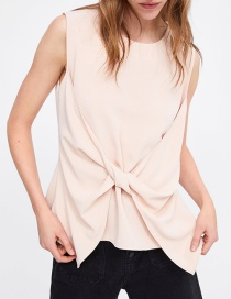 Fashion Light Pink Twisted Round Neck Top