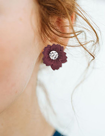 Fashion Red Wine Cloth And Diamond Flower Earrings