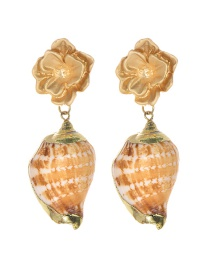 Fashion Gold Alloy Flower Conch Earrings