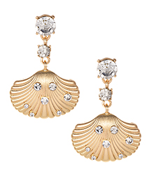 Fashion Gold Alloy Studded Shell Shape Earrings