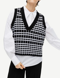 Fashion Black Checked Knit Vest