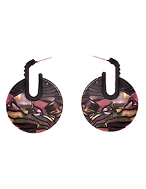 Fashion Pink Alloy Resin Round Earrings