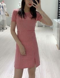 Fashion Red Plaid Hem Split Dress