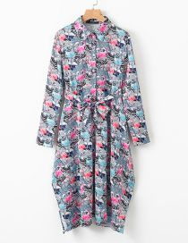 Fashion Gray Blue Crane Flower Print Lace Dress