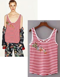 Fashion Red Embroidered Flower Vest