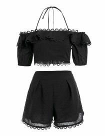 Fashion Black Lace Stitching Halter Vest + Shorts Suit
