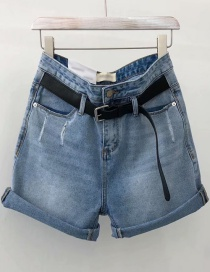 Fashion Blue Washed Denim Belt A Shorts