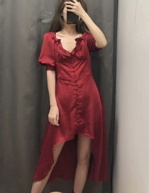 Fashion Red Wine V-neck Pearl Cross Strap Backless Dress
