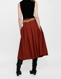 Fashion Red Pleated Skirt