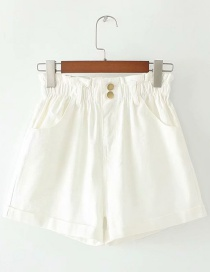 Fashion White Washed Denim Elastic Waist Double Pocket Shorts