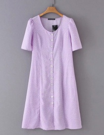 Fashion Purple Row Of Buckled Lace Dresses