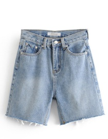Fashion Blue Washed Denim Five-pointed Shorts