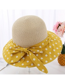Fashion Mango Yellow Polka Dot Grass Top Fisherman Hat