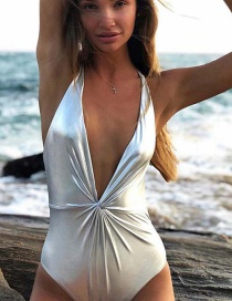 Fashion Silver Halter Low-cut Backless One-piece Swimsuit