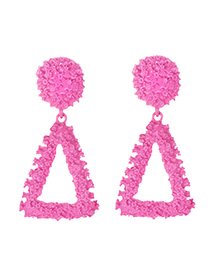 Fashion Rose Red Alloy Triangle Earrings