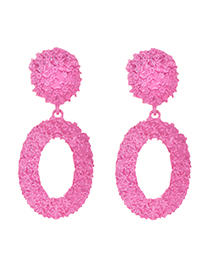 Fashion Rose Red Alloy Oval Earrings