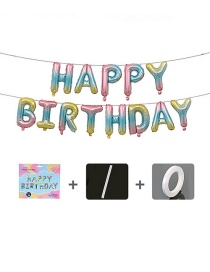 Fashion Us Version Of The Gradient Birthday Set [sipper Ribbon] 16 Inch Letter Inch Aluminum Foil Balloon Set