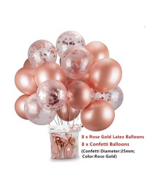 Fashion Rose Gold Thick 18-inch Latex Balloon Package (8 7.5g Latex Balls + 8 8g Sequin Balloons)