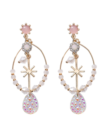 Fashion Gold 925 Silver Pin Studded Rice Earrings