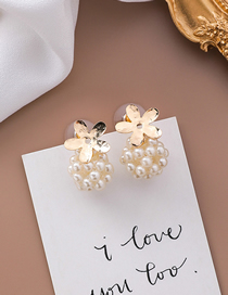 Fashion Gold 925 Silver Needle Flower Pearl Ball Stud Earrings