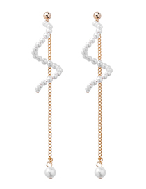 Fashion Gold S-shaped Pearl Fringed 925 Silver Needle Earrings