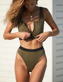 Fashion Armygreen Zipper Split Swimsuit