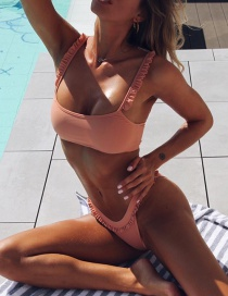 Fashion Pink Ruffled Split Swimsuit