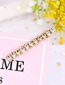 Fashion White Alloy Water Droplets Drill Hair Clip