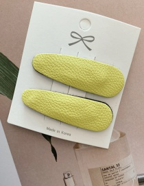 Fashion Lime Yellow / 1 Pair Pu Leather Bb Clip
