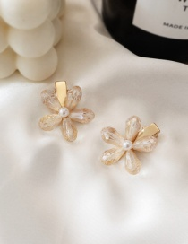 Fashion Beige / Single Crystal Flower Hair Clip