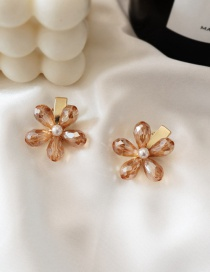 Fashion Champagne / Single Crystal Flower Hair Clip