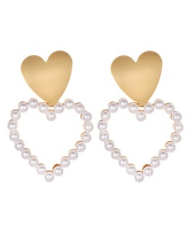 Fashion White Alloy Pearl Love Stud Earrings