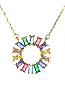 Fashion Color Copper Inlaid Zircon Round Necklace