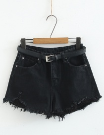 Fashion Black Shredded Denim Shorts