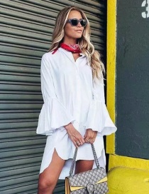 Fashion White Flare Sleeve Small Stand Collar Shirt Skirt