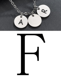 Fashion Steel Color F Letter Corrosion Dripping Round Medal Pendant
