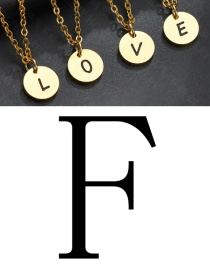 Fashion Golden F Letter Corrosion Dripping Round Medal Pendant